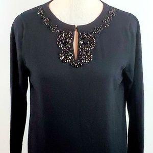 Talbots Merino Wool Black Swester Jeweled Neck Lrg